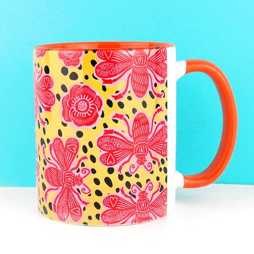 Bee Mug - yellow/ orange