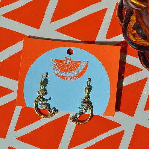Seahorse Lever- Back Earrings