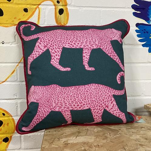Pink/Teal Leopard Cushion