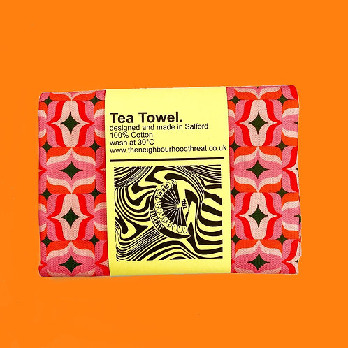 Retro Geo Square Print Tea Towel