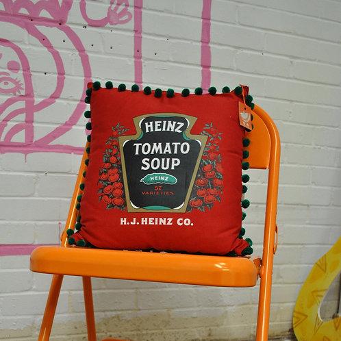 Up - Cycled Tea Towel Cushion - Heinz Tomato Soup