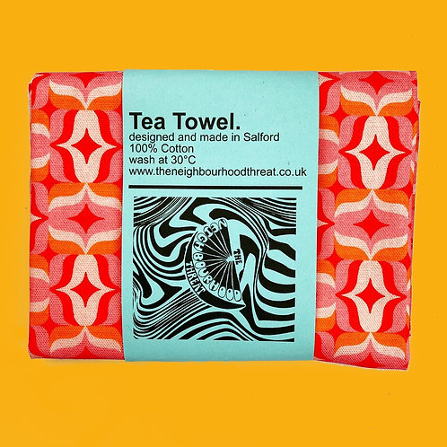 Retro Geo Square Print Tea Towel