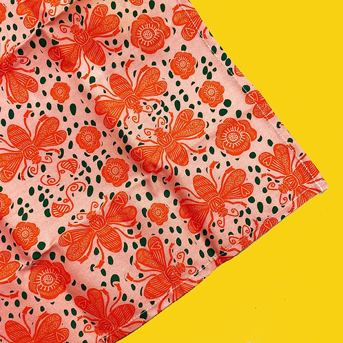 Pink Bee Tea Towel