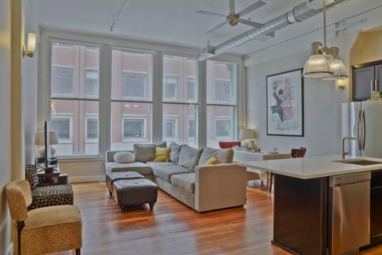 boston loft living room