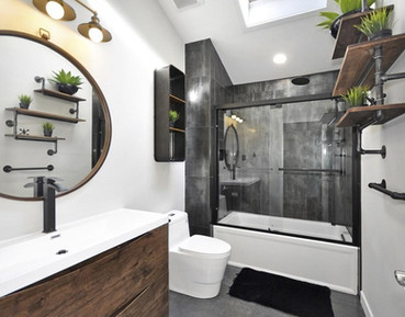 bathroom featuring industrial finishes