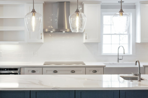 custom kitchen with high-end quartz countertops