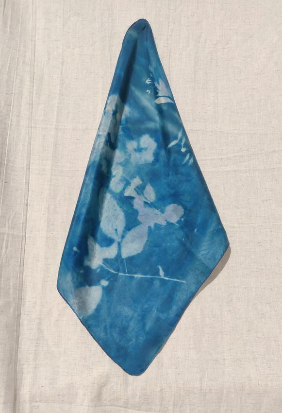Cyanotype Silk Pocket Square