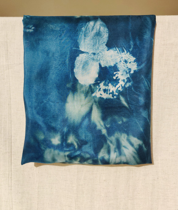 Cyanotype Printed Silk Scarf