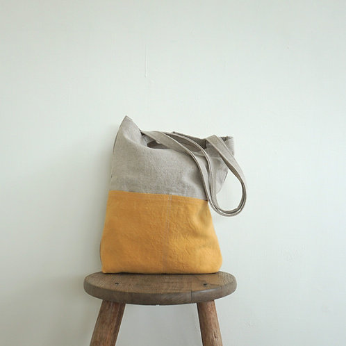 Linen Tote in Sunshine Yellow