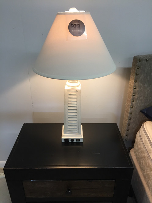 White shutter table lamp with usb port and utility plug white shutter table lamp with usb port and utility plug aloadofball Choice Image