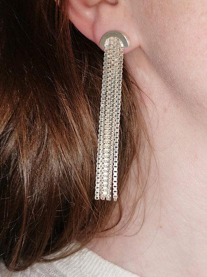 Silver curtain earring, short