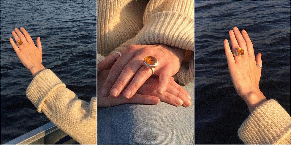 Big bubble amber ring