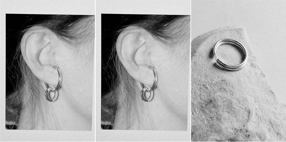 Silver twin hoop ear cuff - L