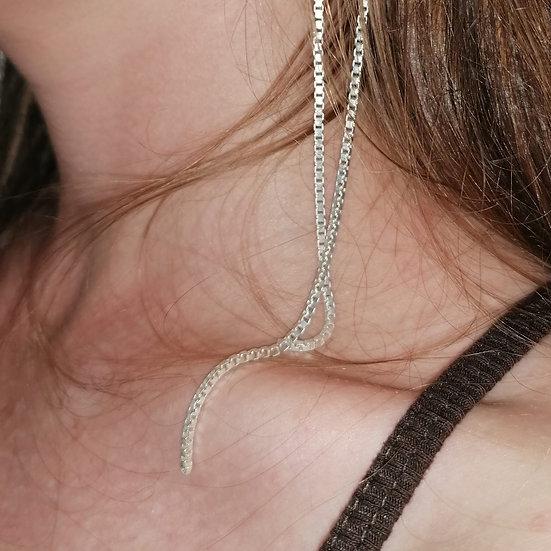 Silver string earring