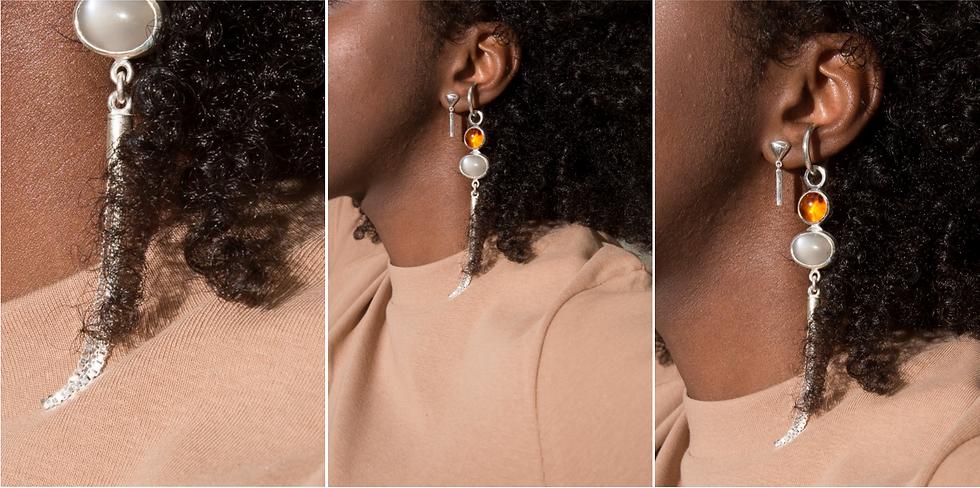 Amber, moonstone & chain
