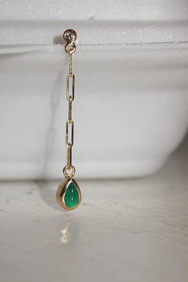 gold, diamond & green teardrop earring