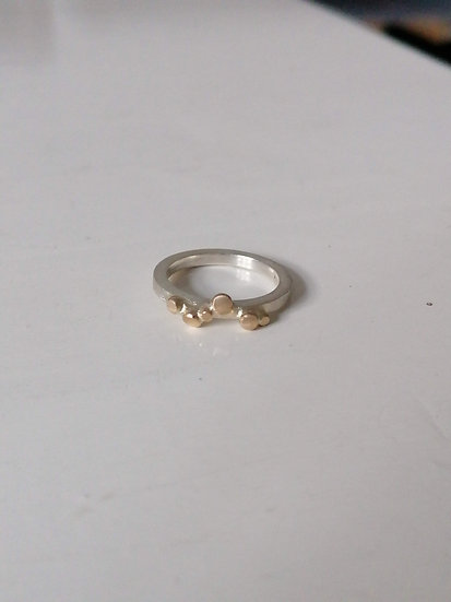 Silver ring with gold details