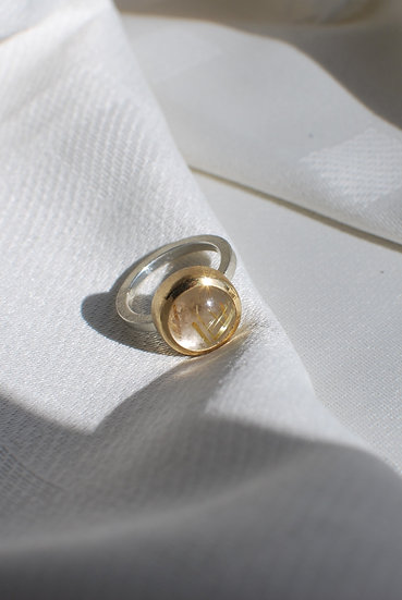 small basic ring with rutilated quartz