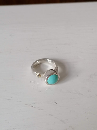 Robotic ring with turquoise