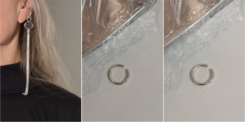 Silver hoop ear cuff - M