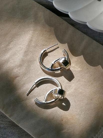 Hoop earring with tube charm (full-polished)