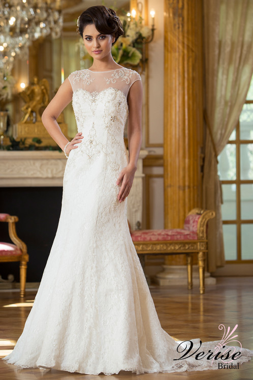 Art Deco Inspired Crystal Lace Wedding Dress