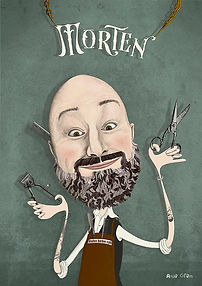 a funny portrait of a barber
