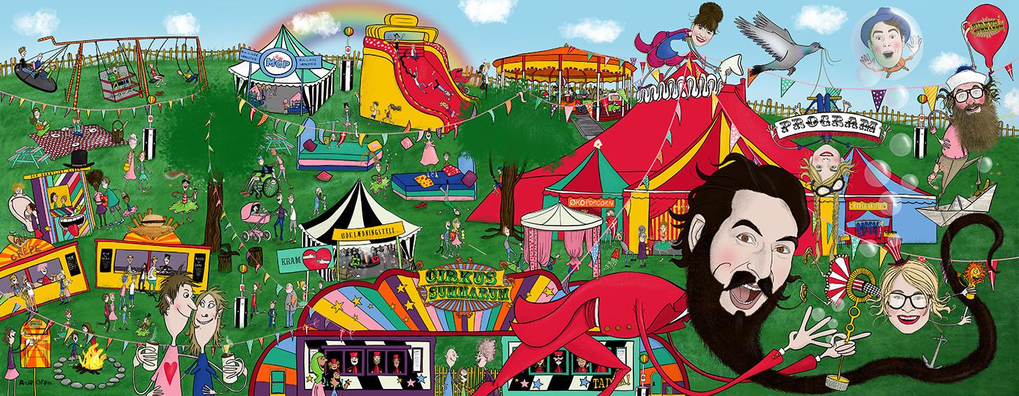 Plakat til program Cirkus Summarum 2019