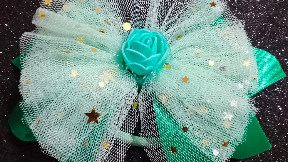 Green tulle rose bow