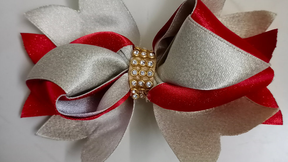 Golden and Red ribbon bow