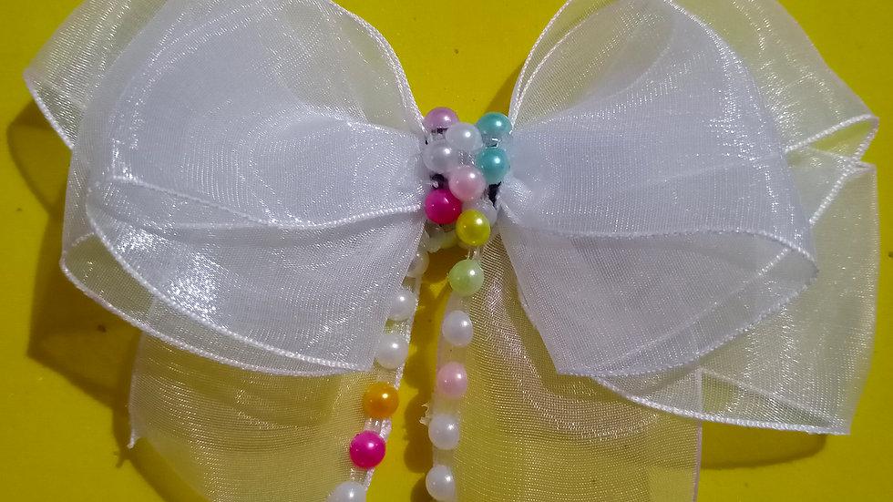 White multicolor pearl bow