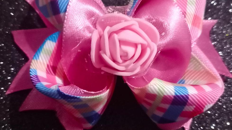 Pink checks bow