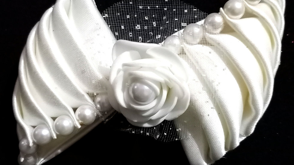 White Ribbon Bow Clip