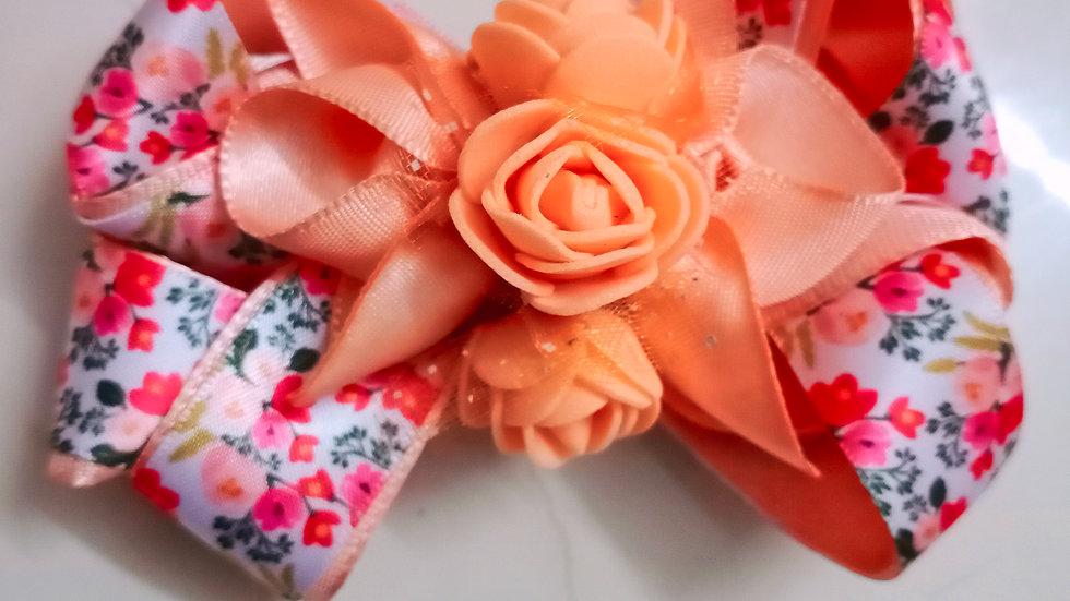 Peach floral bow