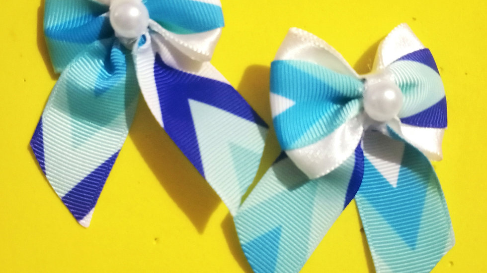 Tiny Twins! Blue and White Ribbon bows