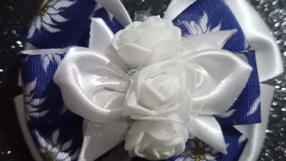 White and blue Ribbon Bow!