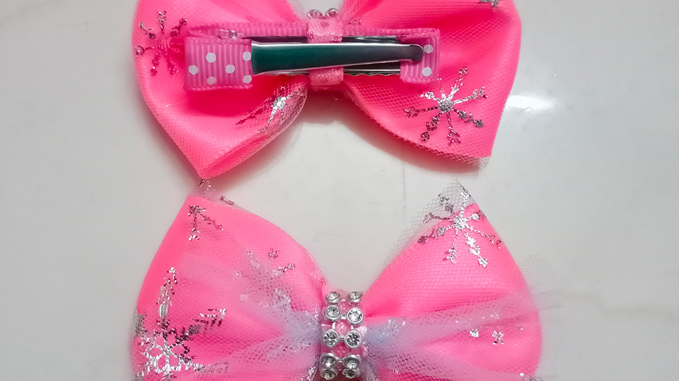 Florescent Pink Frozen twin bow