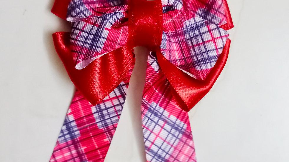 Red checks bow