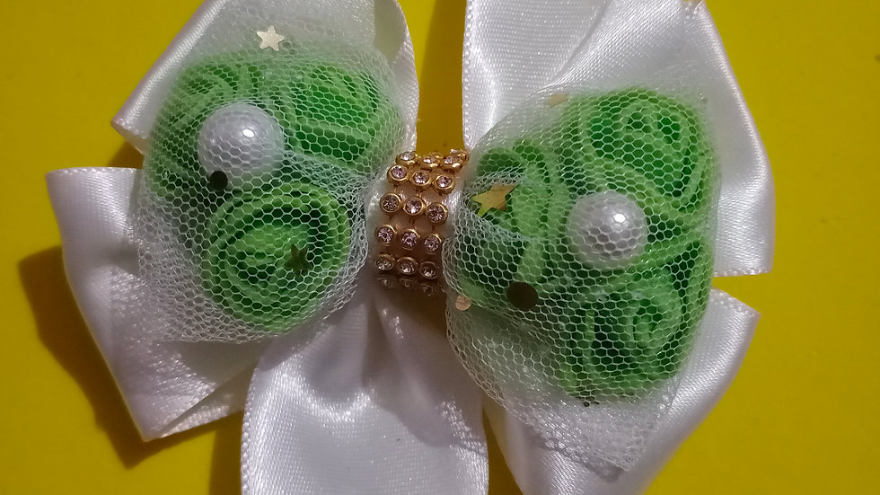 White Ribbon and Green Roses bow