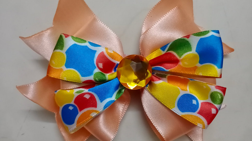 Peach Balloon ribbon bow