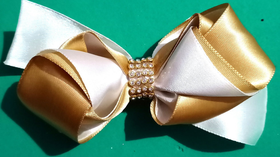White and Golden Ribbon bow