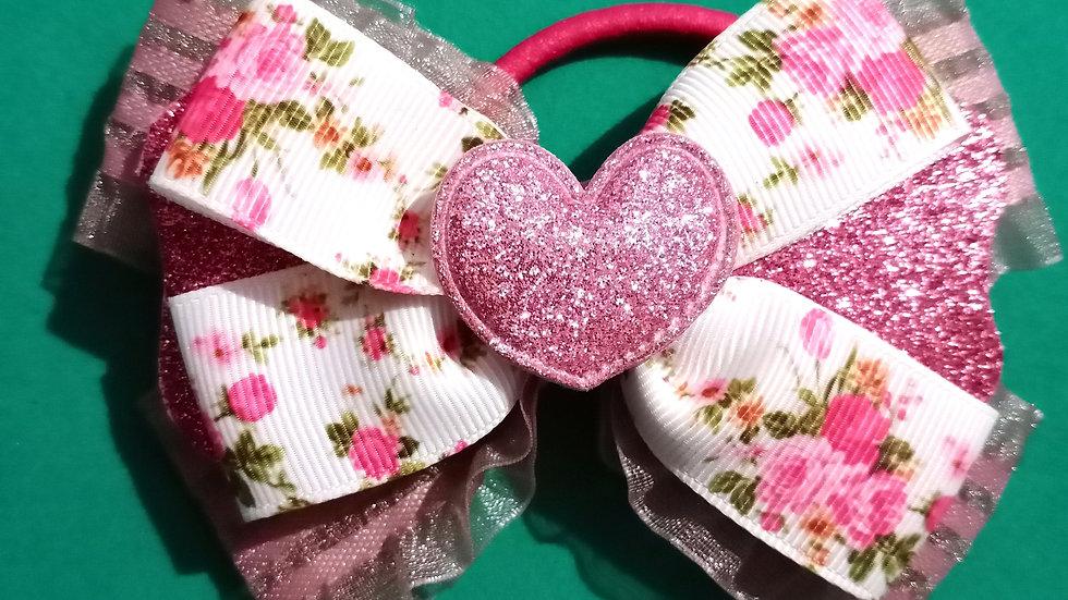 Ruffled floral ribbon bow