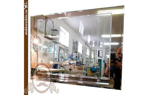 Зеркало №137 прямоугольное с полкой и рамой из зеркала бронза в ванную | Купить | Заказ по размер | Стеклорез | Брянск