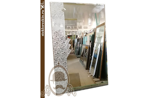 Зеркало №105 прямоугольное в коридор с узорчатым зеркалом Иви серебристый | Купить | Изготовить | Стекло и Зеркала | Брянск
