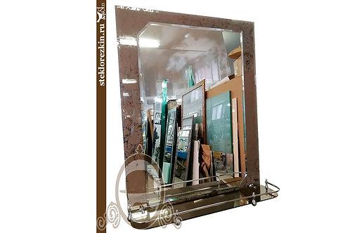 Зеркало №63.3 с узором цветка Магнолия бронза для ванной с полкой | Купить | Заказать под размер | Стекло и Зеркала | Брянск