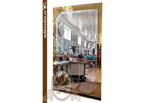 Зеркало №63.4 со скошенными углами рамка золотого цвета широкий фацет | Купить | На заказ | Стекло и Зеркала | Брянск
