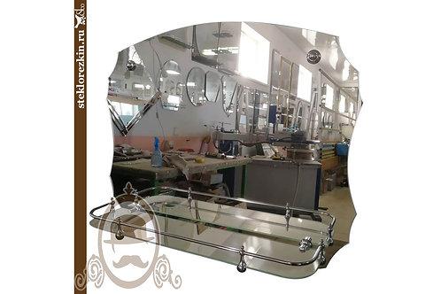 Зеркало №110 волнобразной формы для ванной комнаты со стеклянной полочкой | Купить | Изготовить | Стекло и Зеркала | Брянск