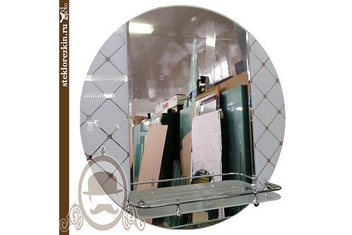 Зеркало №104 круглое для ванной с узорчатым зеркалом Фуджи белый с полкой | Купить | Изготовить | Стекло и Зеркала | Брянск