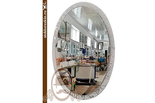Зеркало №139 овальное рамка из узорчатого непрозрачного стекла Колотый лёд | Купить | Сделать | Стекло и Зеркала | Брянск