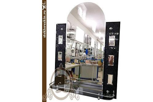 Зеркало №89 арочное узорчатый материал Иви Вьюн чёрного цвета с полкой ванная | Купить | Заказ | Стекло и Зеркала | Брянск